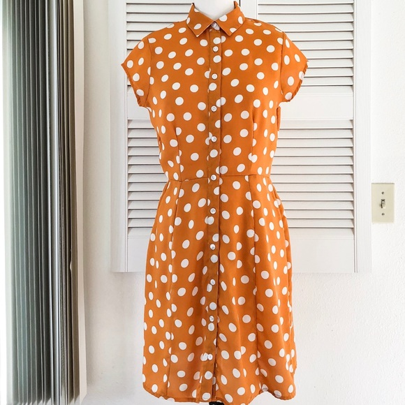 City Streets Dresses & Skirts - Orange and White Polka Dot Dress